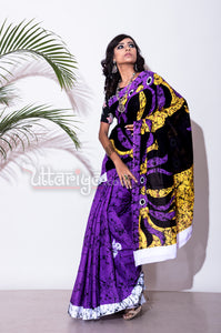 Purple Batik Saree - Uttariya