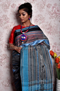Dhaniakhali Saree in blue fish design