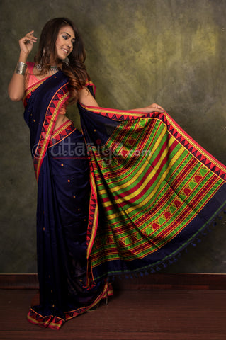 Dongria Saree in Blue - Uttariya