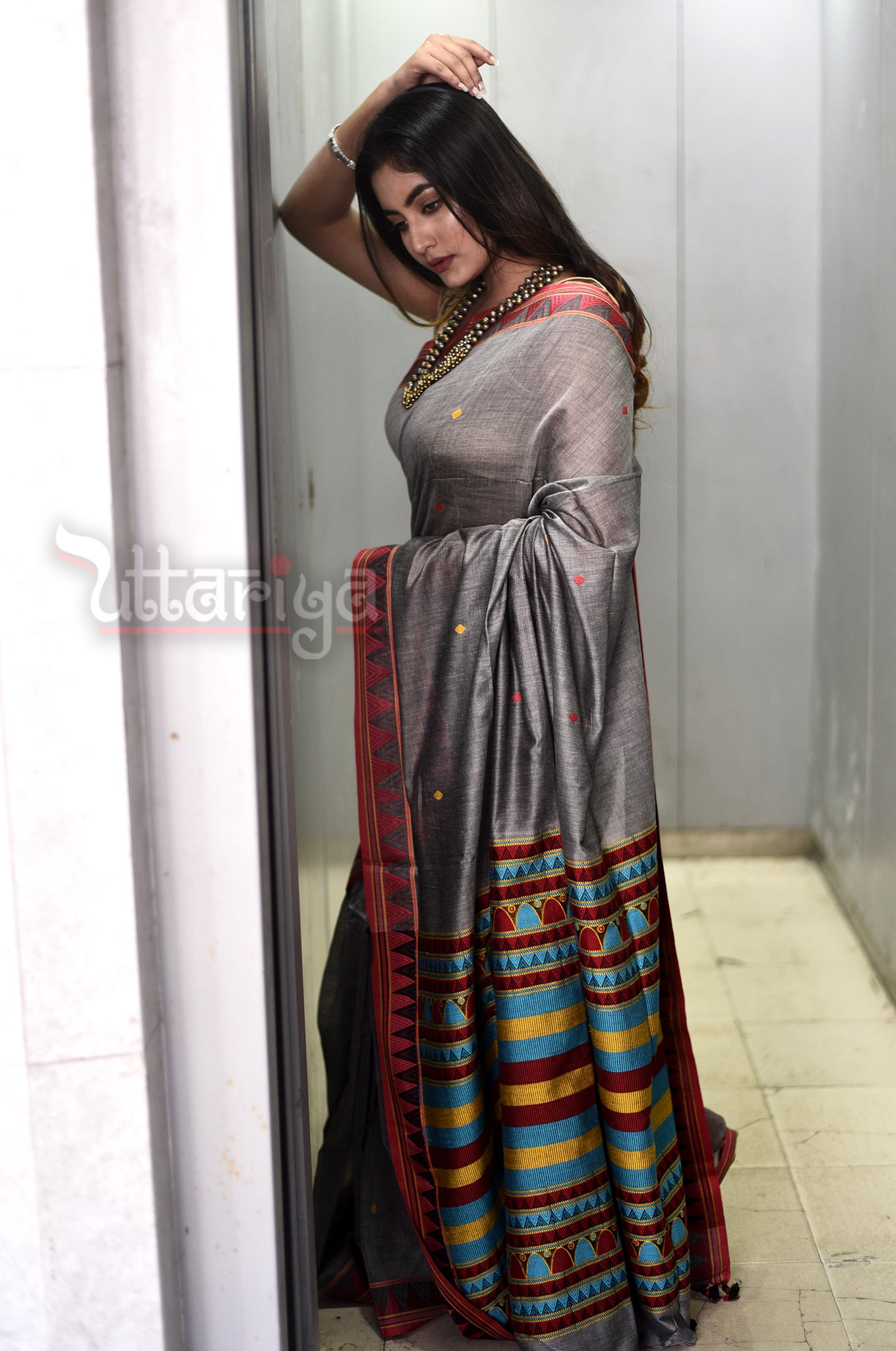 Gray Dongria Saree