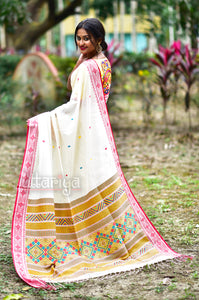 Pure Handwoven Handloom Cotton White Swapner Dongria Saree