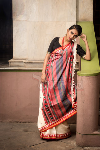 White Dongria Saree