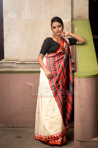 Dongria Saree in White - Uttariya