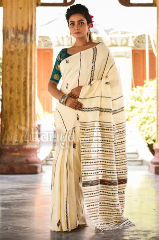 Off white Kantha Stitch Saree