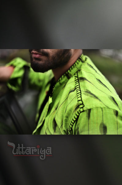 Green Color Ikkat Shirts For Men - Uttariya