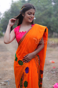 Orange Color Mekhela Chador - Uttariya