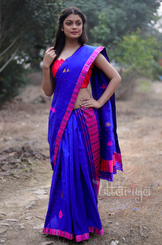 Mekhela Chador in Dark Blue - Uttariya
