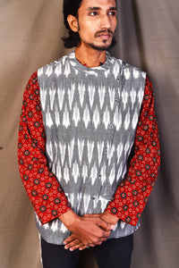 Ikat Half Reverseble Jacket For Mens