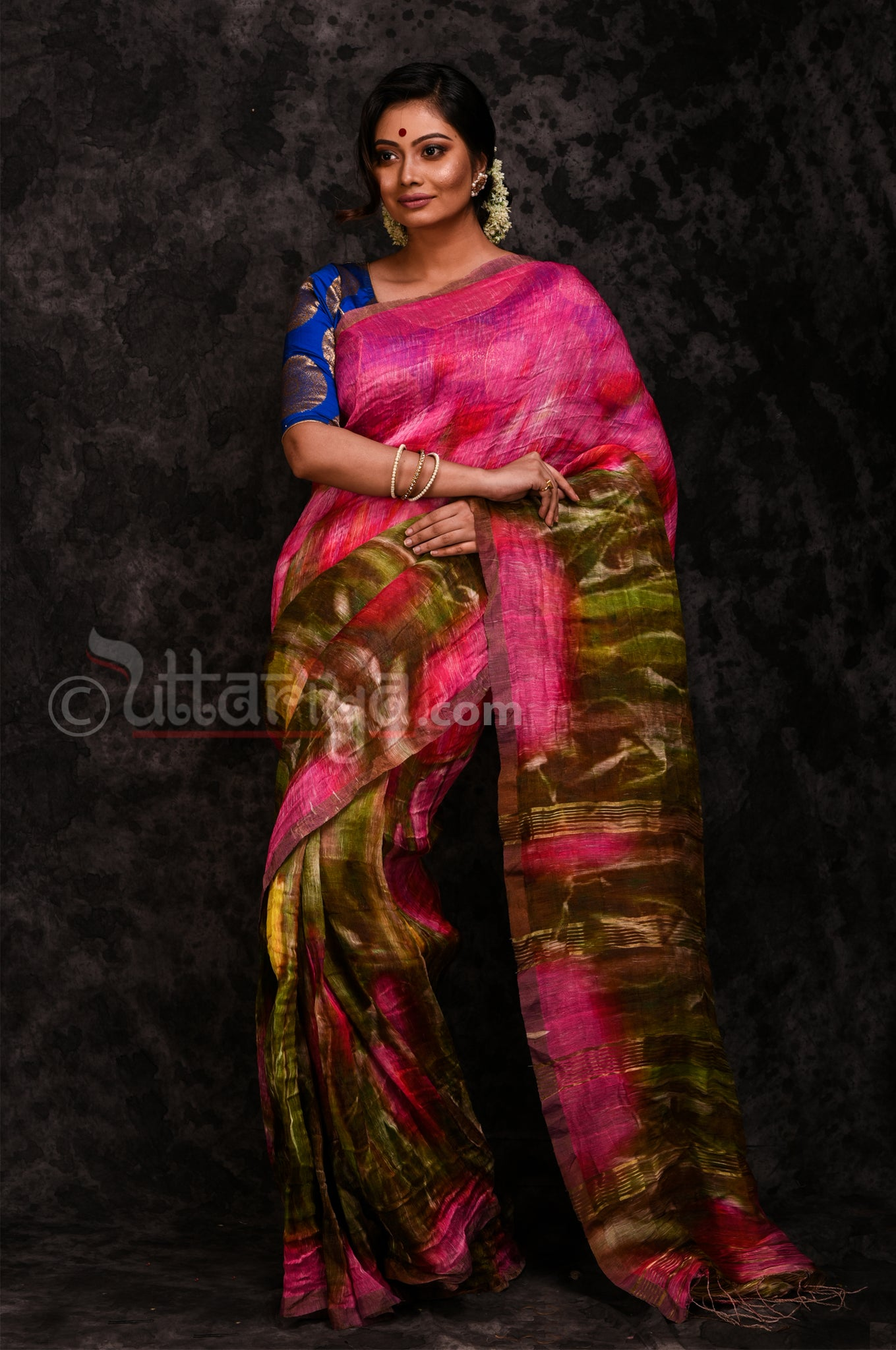 Silk Linen Saree in Pink - Uttariya