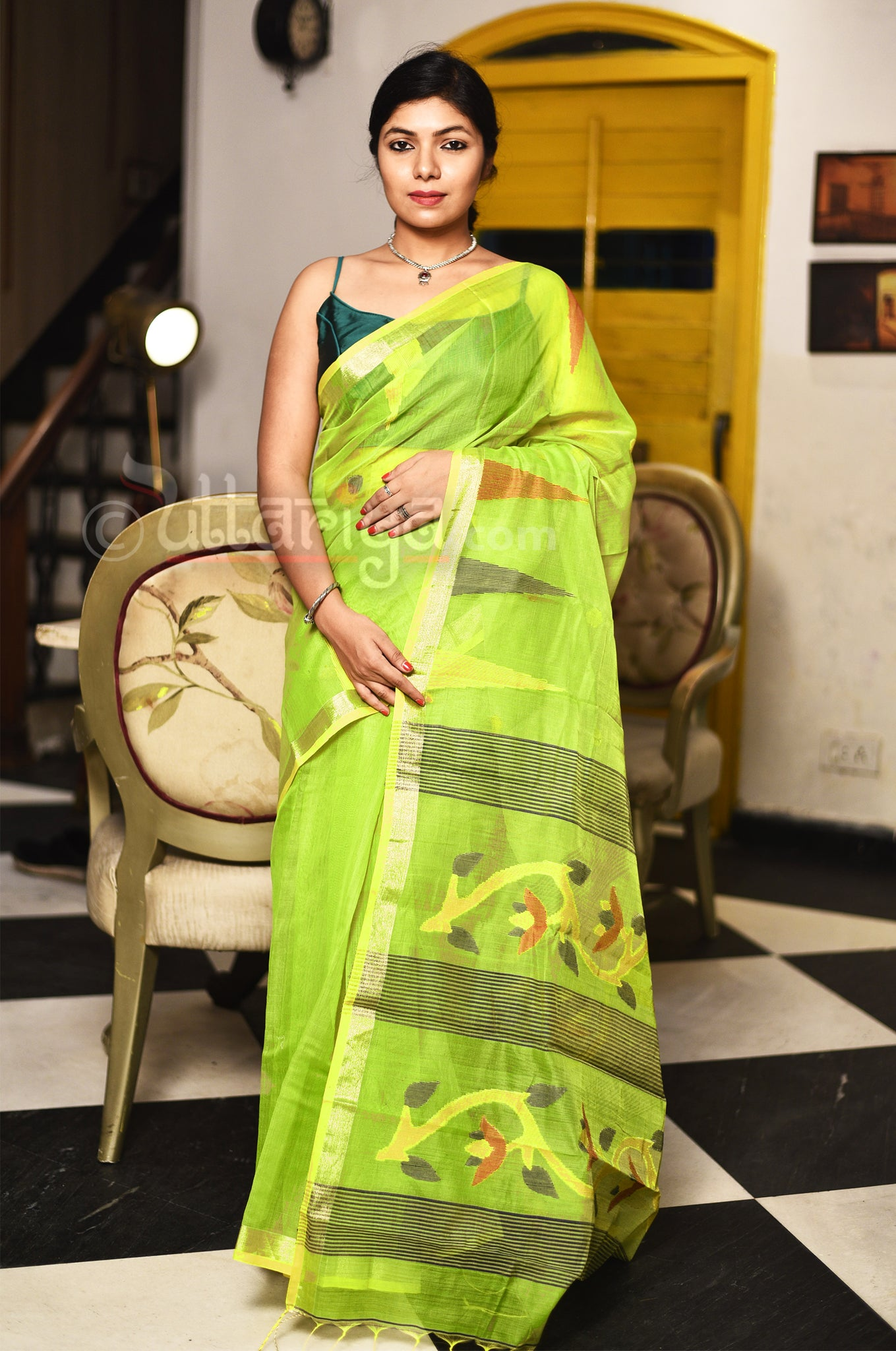 Lemon Green Muslin Jamdani Saree - Uttariya