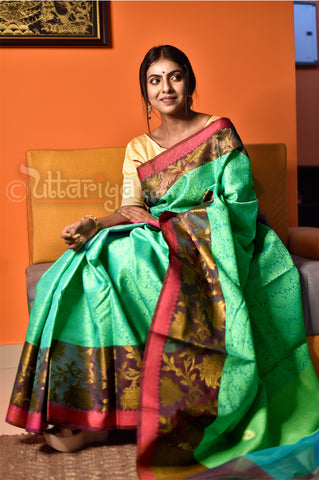 Sea Green Banaras Saree - Uttariya