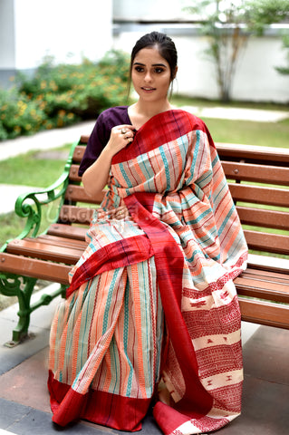 All over woven Bhujoudi Saree - Uttariya
