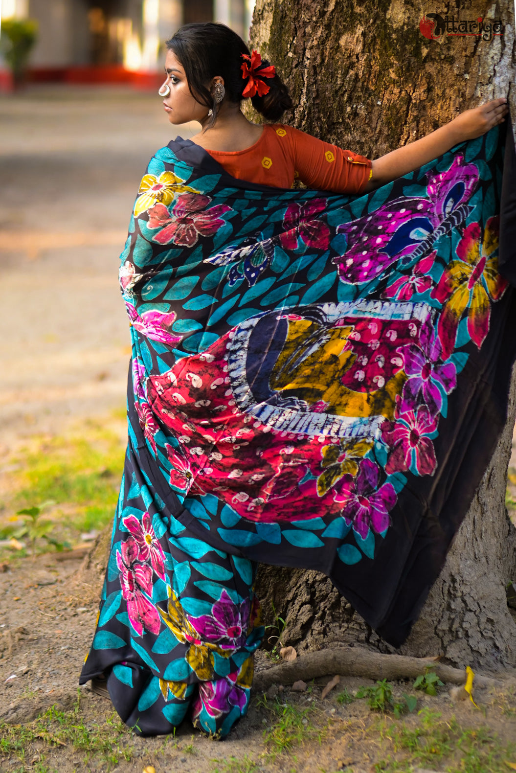 Blue Gujarati silk saree - Uttariya