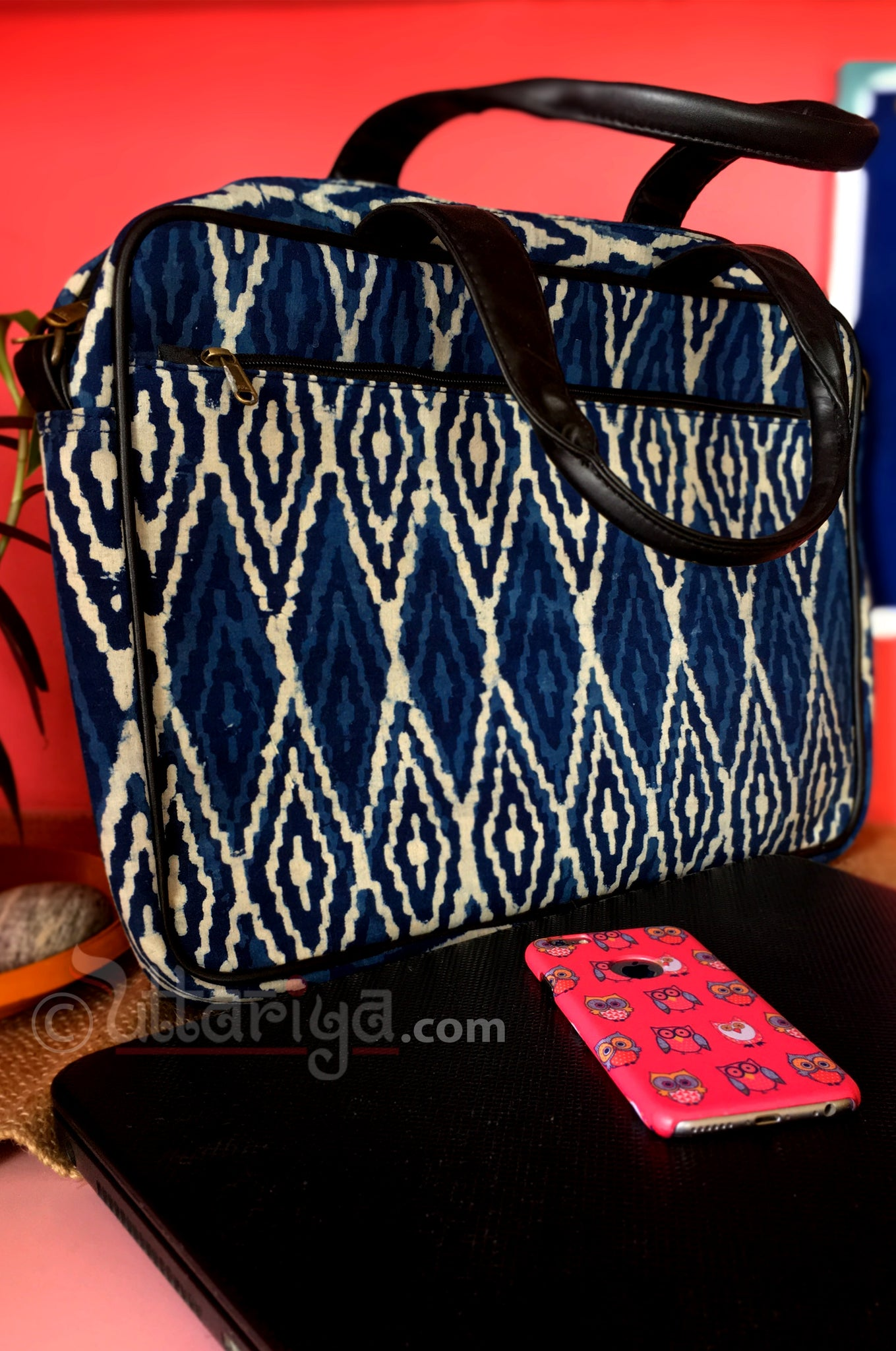 Blue Ikkat Laptop Bag - Uttariya
