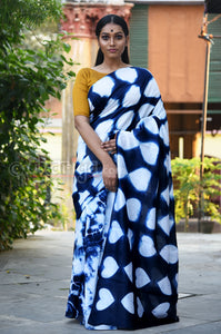 Indigo Chanderi SIlk Saree - Uttariya