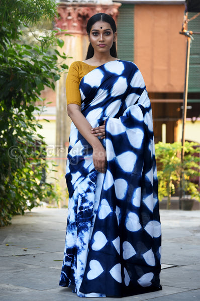 Blue Indigo Chanderi SIlk Saree
