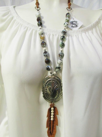 Large Concho with Leather Feather Necklace