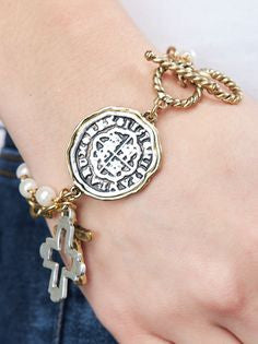 Medallion Charm Bracelet with Two Cross's