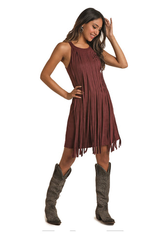Purple Suede Fringe Dress