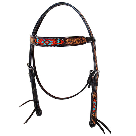 Santa Fe Beaded Tooled Browband Headstall