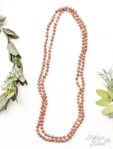 "Double Wrap Beaded  60"" Necklace - Rose Copper 8mm"