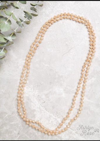 "Double Wrap Beaded  60"" Necklace - Champagne 8mm"