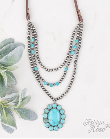 Gun Powder & Lead Turquoise Squash Blossom Necklace
