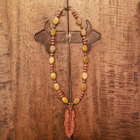 Brown Jasper Feather Necklace