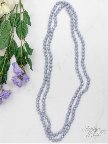 "Double Wrap Beaded  60"" Necklace - Lilac Grey 8mm"