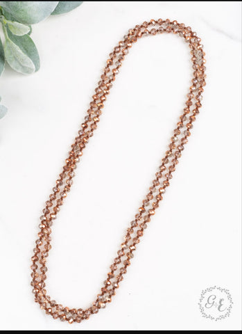 "Double Wrap Beaded  60"" Necklace - Metallic Rose Gold 8mm"
