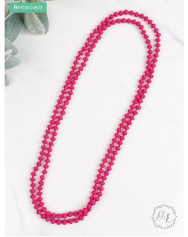 "Double Wrap Beaded  60"" Necklace - Vibrant Pink 8mm"
