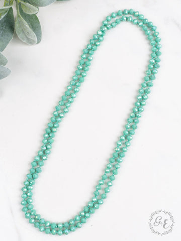 "Double Wrap Beaded  60"" Necklace - Turquoise 8mm"