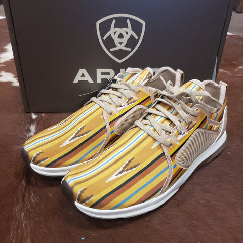 Women's Ariat Fuse Tennis Shoes Mustard Aztec