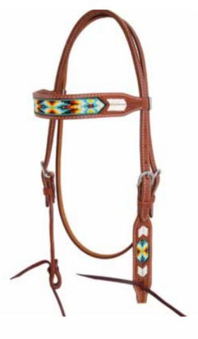 Peyote Collection Rawhide Stitching and Beaded Inlay Browband Headstall