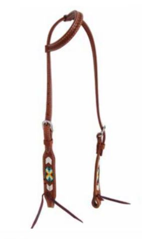 Peyote Collection Rawhide Stitching and Beaded Inlay Slip Ear Headstall