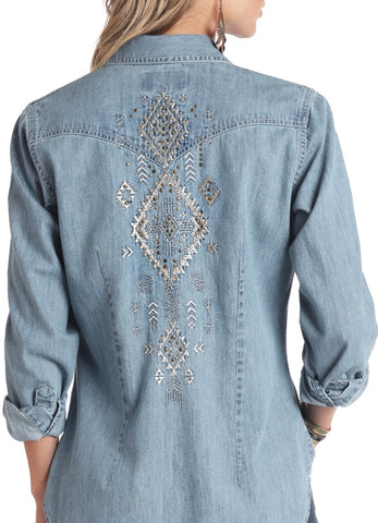 Panhandle Women's Denim Embroidered Snap Shirt