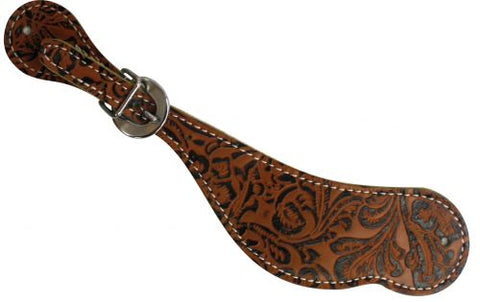 Ladies Brown Tooled Spur Strap