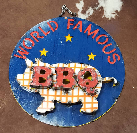 World Famous BBQ 3D Metal Sign
