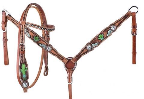Pony Hand Painted Cactus Headstall & Breastcollar Set