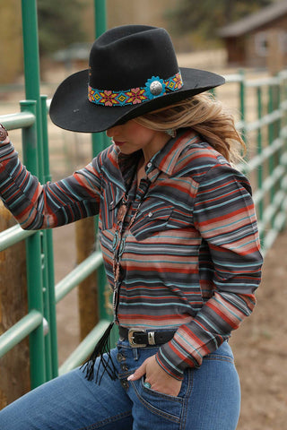 Women's Rustic Western Strips Button Up