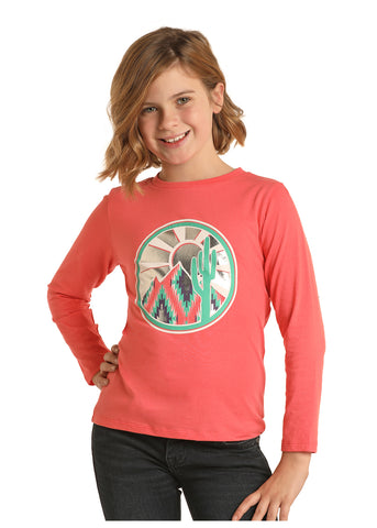 Girl's Long Sleeve Coral Cactus Shirt