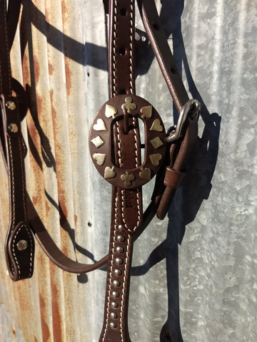 Cashel Card Suite Buckles Silver Dots Headstall