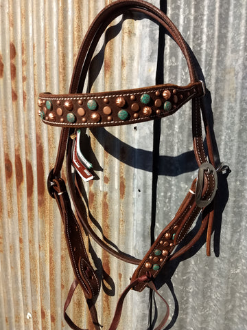 Mixed Copper & Turquoise Chocolate Headstall