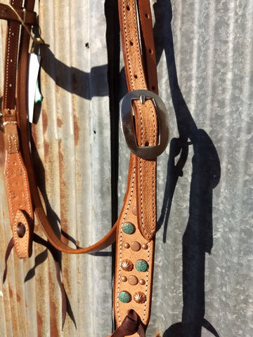 Martin Mixed Copper & Turquoise Dots Natural Headstall