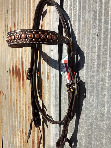 Martin Antique Copper Dots Chocolate Headstall