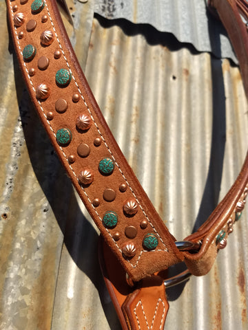 Mixed Copper & Turquoise Dots Natural Breastcollar