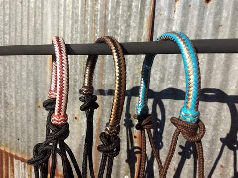 Rope Halter with Rawhide Metallic Noseband