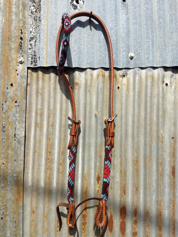 Reinsman Brown & Red Rolled Beaded One Ear Headstall