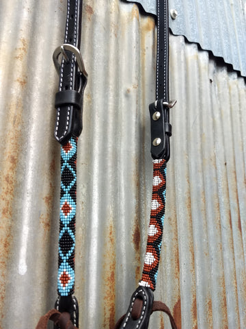 Black & Blue Rolled One Ear Headstall