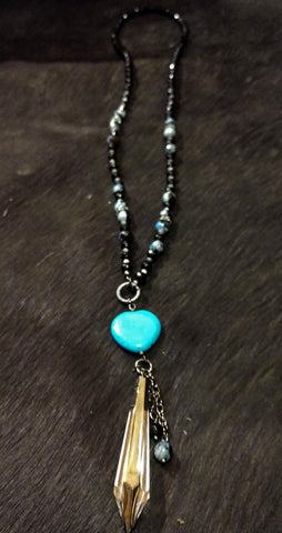 Ataggirl Turquoise Heart with Crystal Necklace